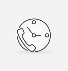 Phone and clock concept icon in thin line vector