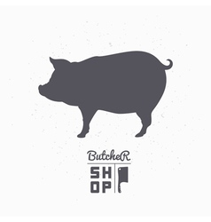 Pig silhouette Pork meat Butcher shop logo vector