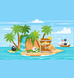 Pirate ship islan treasure chest vector