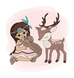pocahontas animals indian girl pets vector image