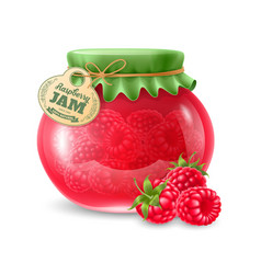 Raspberry jam in the glass jar vector