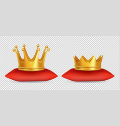 realistic gold crowns king and queen vector image