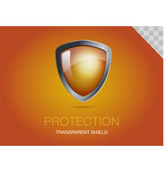 realistic metal shield with transparent armored vector image