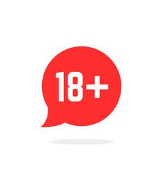 Red speech bubble like 18 plus vector