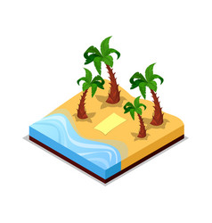 Sandy beach with palm trees isometric 3d icon vector