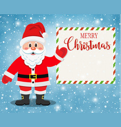 santa claus character showing merry christmas vector image