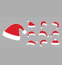 santa claus hat flat set realistic claus vector image