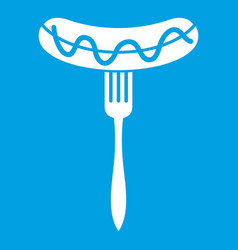 Sausage on fork icon white vector