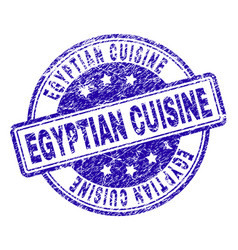 Scratched textured egyptian cuisine stamp seal vector