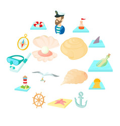 Sea icons set cartoon style vector