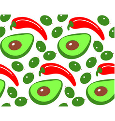 seamless olive chili pepper avocado pattern simple vector image