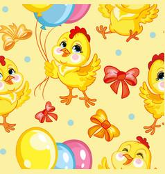 Seamless pattern chickens happy birthday vector