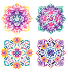 Set four mandalas floral elements gradient vector