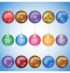 set glass christmas balls vector image