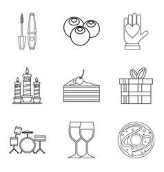 Sweet supper icons set outline style vector