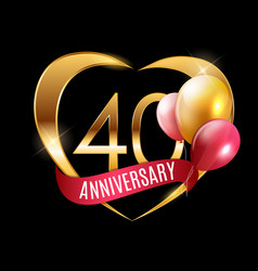 Template gold logo 40 years anniversary with vector