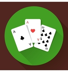Three playing cards long shadow icon vector