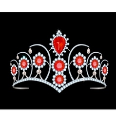 Tiara with rubies vector image