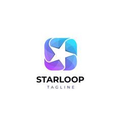 Trendy star looping logo design template vector