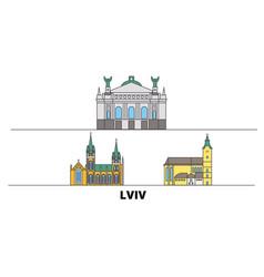 Ukraine lviv flat landmarks vector