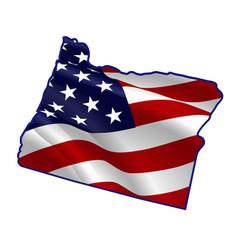 United states oregon full american flag map vector