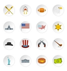 Usa icons set flat style vector