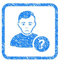 User question framed stamp vector