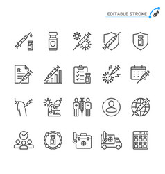 vaccine line icons editable stroke pixel perfect vector image