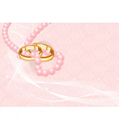 wedding rings on pink vector image