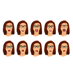 woman with glasses facial expressions gestures vector image