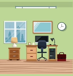 Workplace desk chair computer window lamp vector