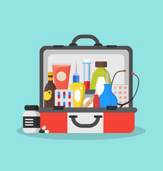 first aid kit box or suitcase vector image vector image