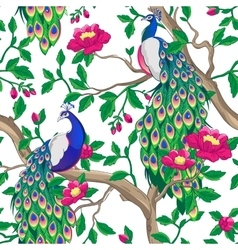 Floral pattern with peacock and pink flowers vector image