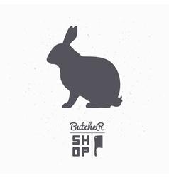Hare silhouette rabbit meat butcher shop logo vector