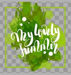 hello summer green colored hand lettering vector image vector image