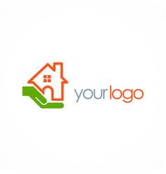 save house hand logo vector image