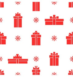 seamless gift box pattern red gift box vector image vector image