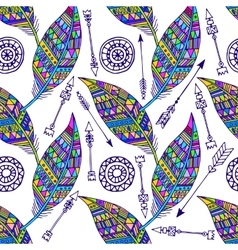 Seamless pattern with feather and arrows in vector image vector image