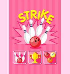 Colorful bowling strike template vector