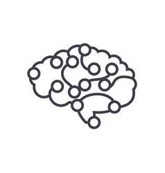 computer brain concept thin line icon vector image vector image