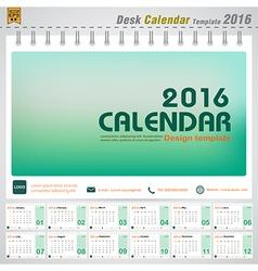 Desk calendar 2016 modern green concept vector image