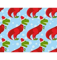T-Rex Santa Claus seamless pattern Christmas vector image