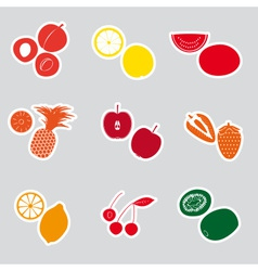 color fruits and half fruits stickers eps10 vector image vector image