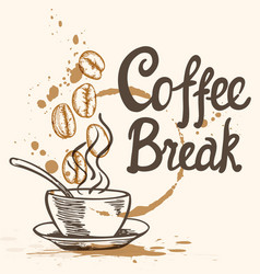cup of coffee and lettering vector image vector image