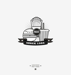 Fast food logo with ribbon vector image