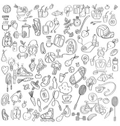 hand drawn sport equipment and food doodles vector image vector image