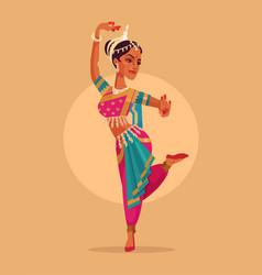 Indian happy woman character dances vector
