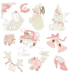 vintage wedding design vector image vector image