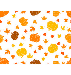 autumn seamless pattern with pumpkins and leaves vector image vector image
