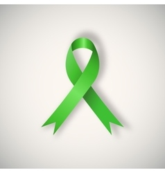 Breast cancer awareness green ribbon vector image